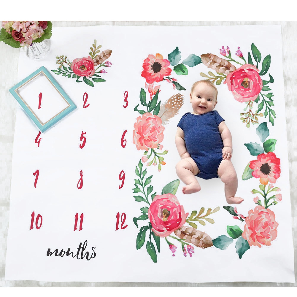 Infant Photo Props Reusable Monthly Shoots Backdrop Newborn Blanket Baby Swaddling Photography Boys Girls