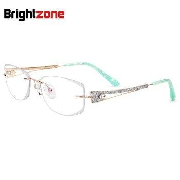 Geometric Style Crystal Cutting Edge Non-rim Pure Titanium Rectangular Glasses Spectacle Transparent Frame Glass Women Eyewear