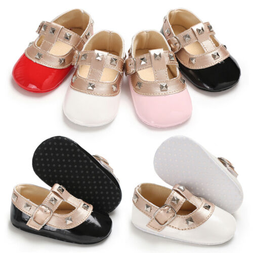 Emmababy Baby Girls Bow Princess Shoes Soft Sole Crib Leather Solid Buckle Strap Flat With Heel Baby Shoes 4 Colors