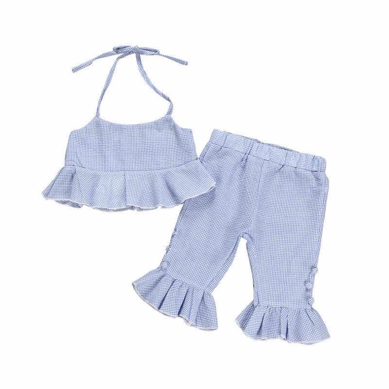 3ebee60a27d35 1-5T Summer Toddler Kids Baby Girl Fashion Clothes set Boho Beach Striped  Ruffle Crop