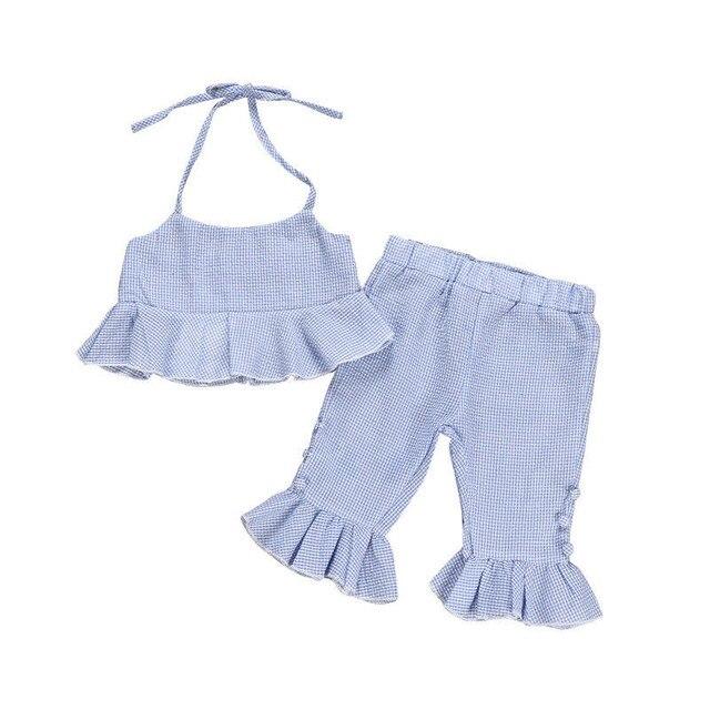 1-5 T Mùa Hè Toddler Trẻ Em Bé Gái Thời Trang Quần Áo bộ Boho Bãi Biển Sọc Ruffle Crop Tops Quần Loe trang Phục dễ thương bộ Sunsuit