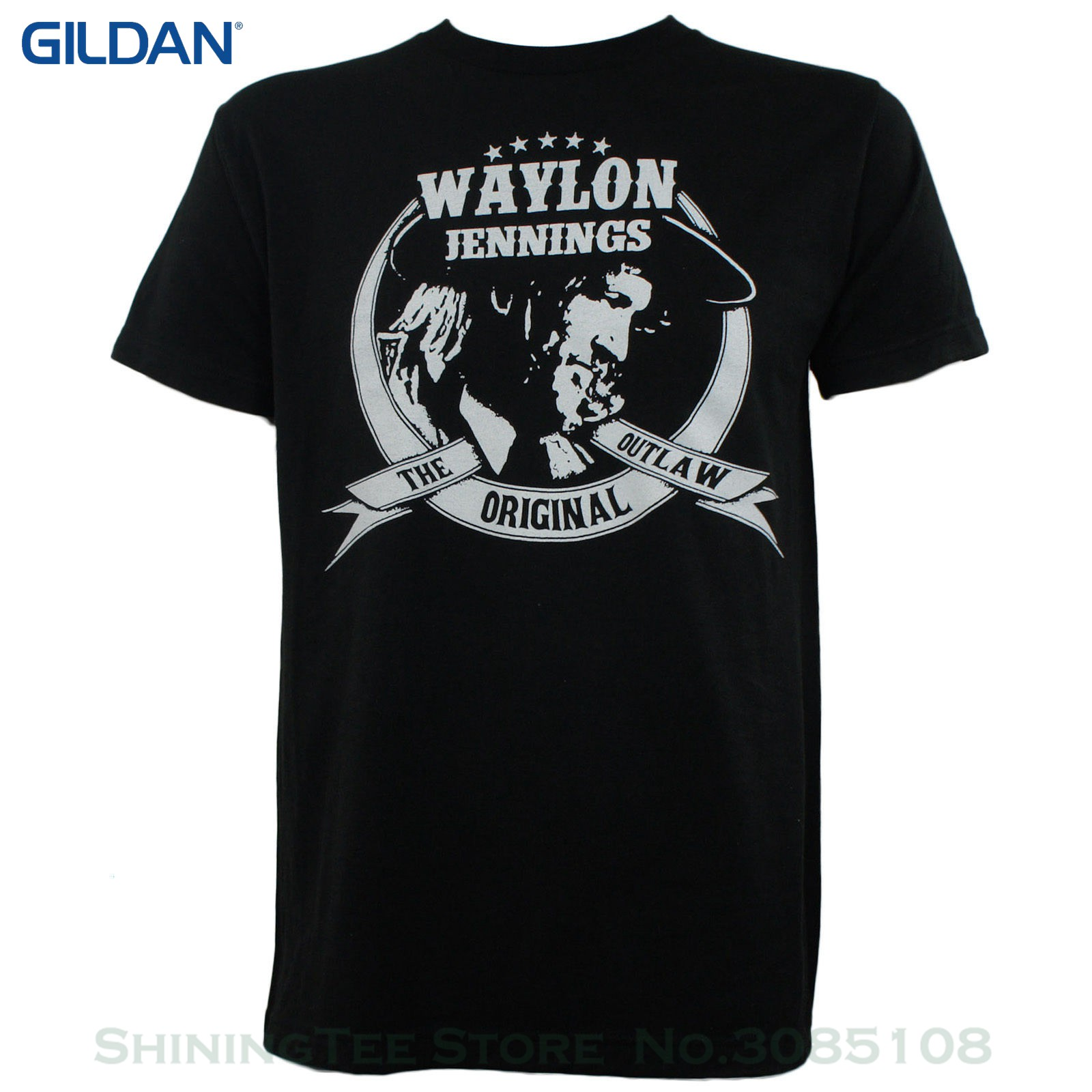 81a361f8 T Shirt Hot Topic Men Short Sleeve Authentic Waylon Jennings The Original  Outlaw Photo Slim-fit T-shirt S-3xl New