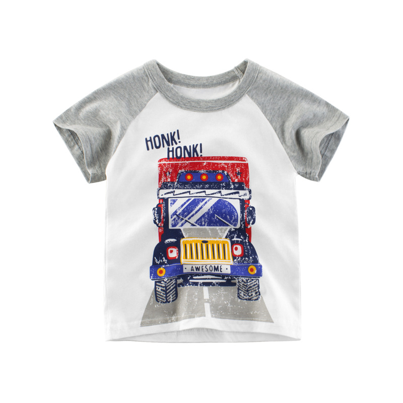 Boys Shirts Baby-Boy Clothing Tops Toddler Kids Cotton Children's Summer Cartoon Brand