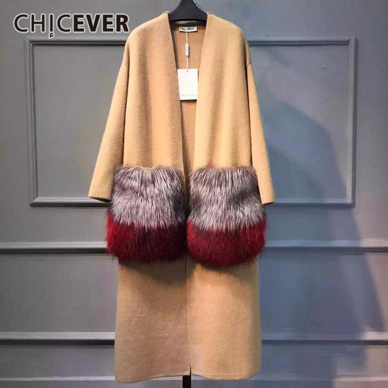 CHICEVER 2018 Winter Women Attachable Big Fur Pocket Knitted Long Coats Female Windbreaker Casual Cardigan Loose Tops Clothes