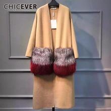 CHICEVER 2020 חורף נשים Attachable גדול פרווה כיס סרוג ארוך מעילי נקבה מעיל רוח מזדמן קרדיגן Loose חולצות בגדים