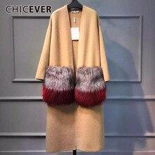 CHICEVER 2020 겨울 여성용 큰 모피 포켓 니트 롱 코트 여성용 윈드 브레이커 캐주얼 가디건 루즈 탑 의류
