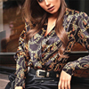 new fashion women password chain printed vintage blouse shirts female vogue high street criss-cross v neck blouses tops shirt 1