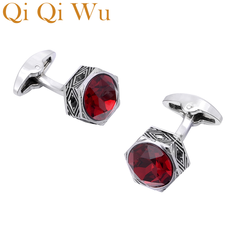 Qi Qi Wu Retro Red Crystal Cufflinks For Men Wedding Gifts Jewelry Luxury Hexagon Mens Shirt Cuff Links Buttons Men Silver Cuffs
