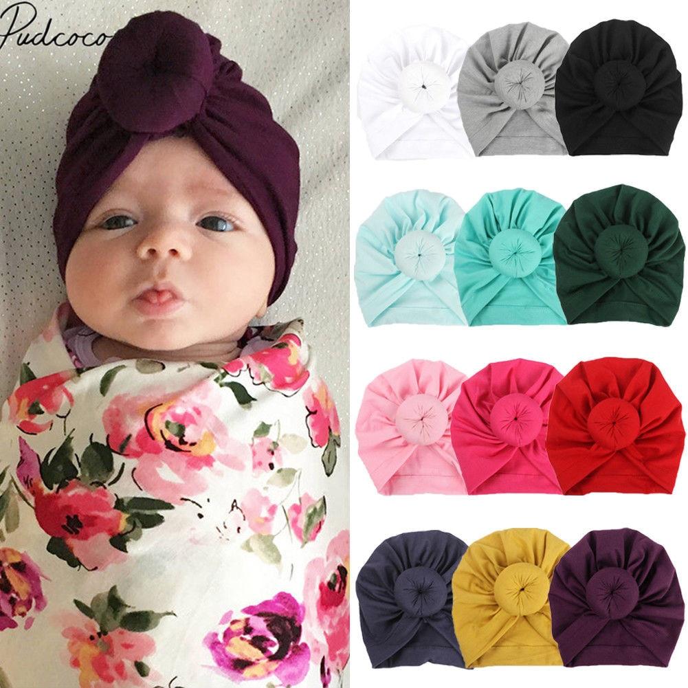 2019 Children Accessories Newborn Toddler Kids Baby Boy Girl Turban Cotton Beanie Hat Winter Warm Soft Cap Solid Knot Soft Wrap(China)