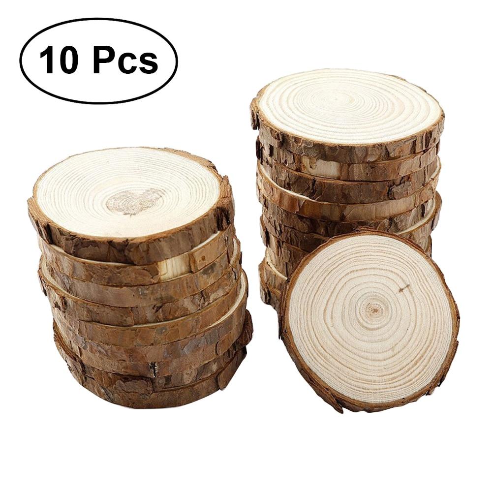 10 pçs unfinished natural round madeira fatias círculos com casca de árvore discos de registro para diy artesanato tamanho 1