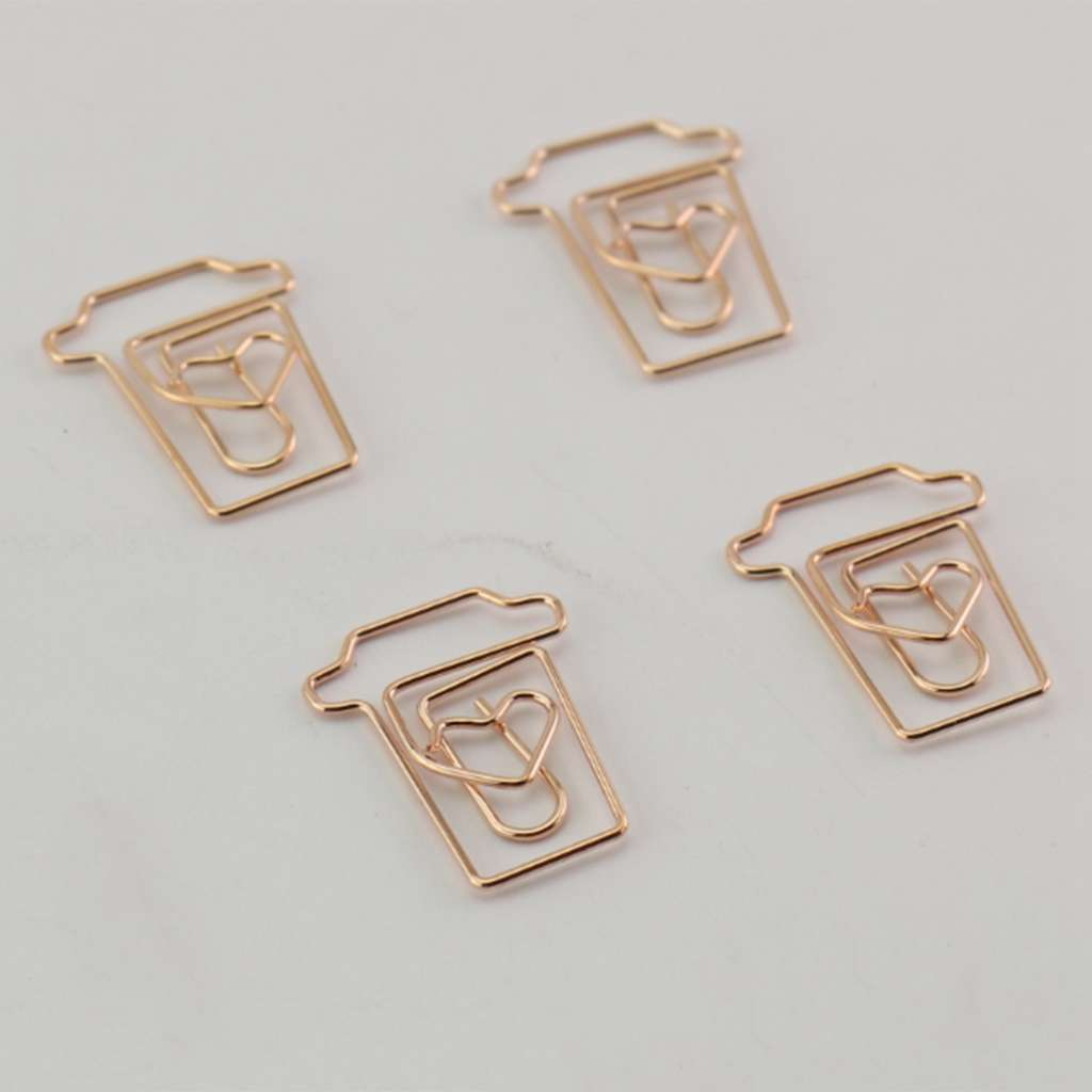 Efficient Coffee Cup Mug Shaped Paper Clips Metal Note Clips For Office School Wedding Decoration Pack 12pcs