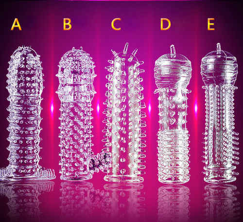 1X Reusable Silicone Condom Flexible spike Quality Type Permanent Bump Enhance G-point Condom Performance