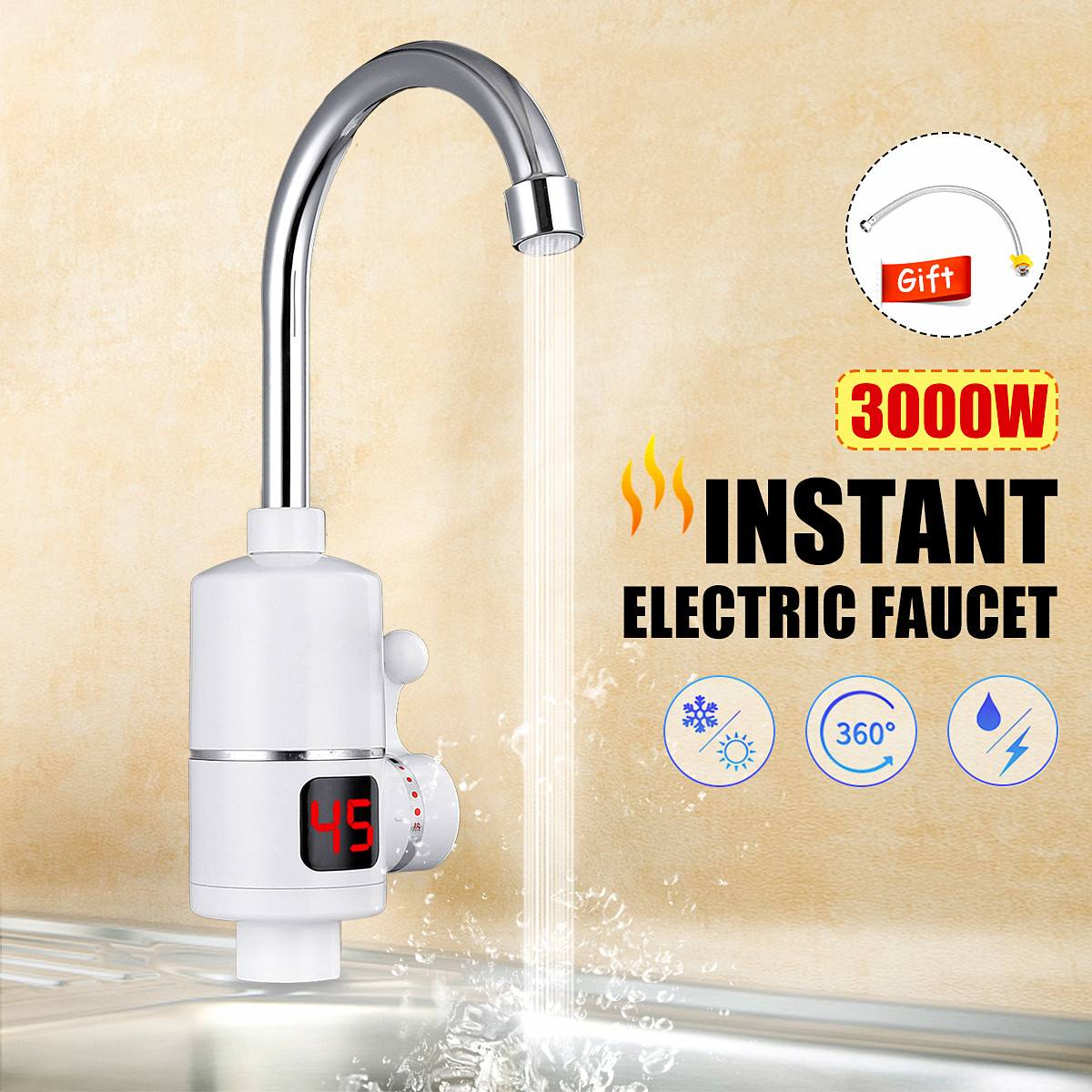New Instant Hot/Cold Water Heater Tap Fast Thermostat For Water Heater 3000w Electrical Faucet Temperature LCD Digital Display