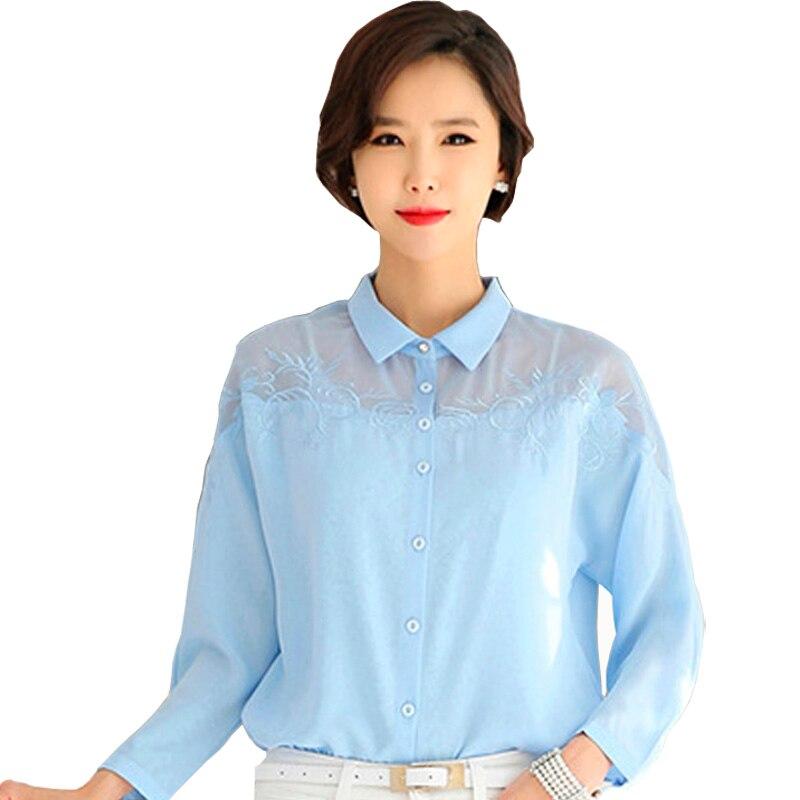 Mėlynos spalvos moteriškos mados šifono palaidinė plius dydžio - Moteriški drabužiai