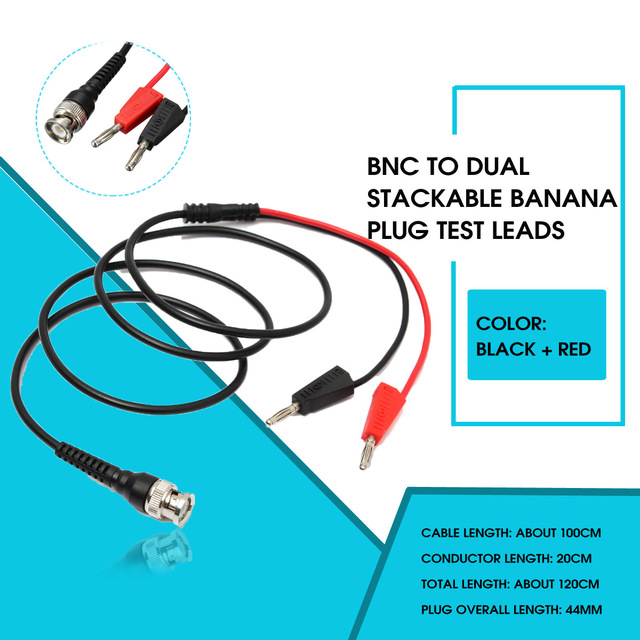BNC Q9 to Dual 4mm Stackable Banana Plug with Socket Test Line Probe Test Leads Cable 90cm Test Connectors