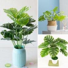 Ramo de hojas artificiales de plástico para decoración del hogar, artículos de simulación, plantas falsas artesanales, decoración de pared, fiesta verde