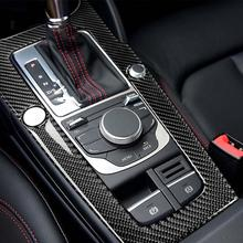 1pc car gear shift panel sticker automotive car carbon fiber styling decorative durable decal for audi a4l q5 a5 1PC Car Styling Gear Shift Panel Decorative Automotive Carbon Fiber Durable Gear Shift Panel Decal Sticker for Audi A3 2014-2017