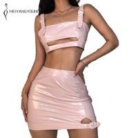 MEIYANGYOUNG Back Zipper PU Leather women tracksuit Rhinestone buckle two piece set crop top women mini skirt pink outfit 2019