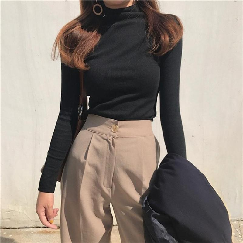 Women Long Sleeve Slim Fit T-shirt Solid Color High Neck Bottoming Tops Pullover Basic Daily Clothing Fashion Casual Turtleneck