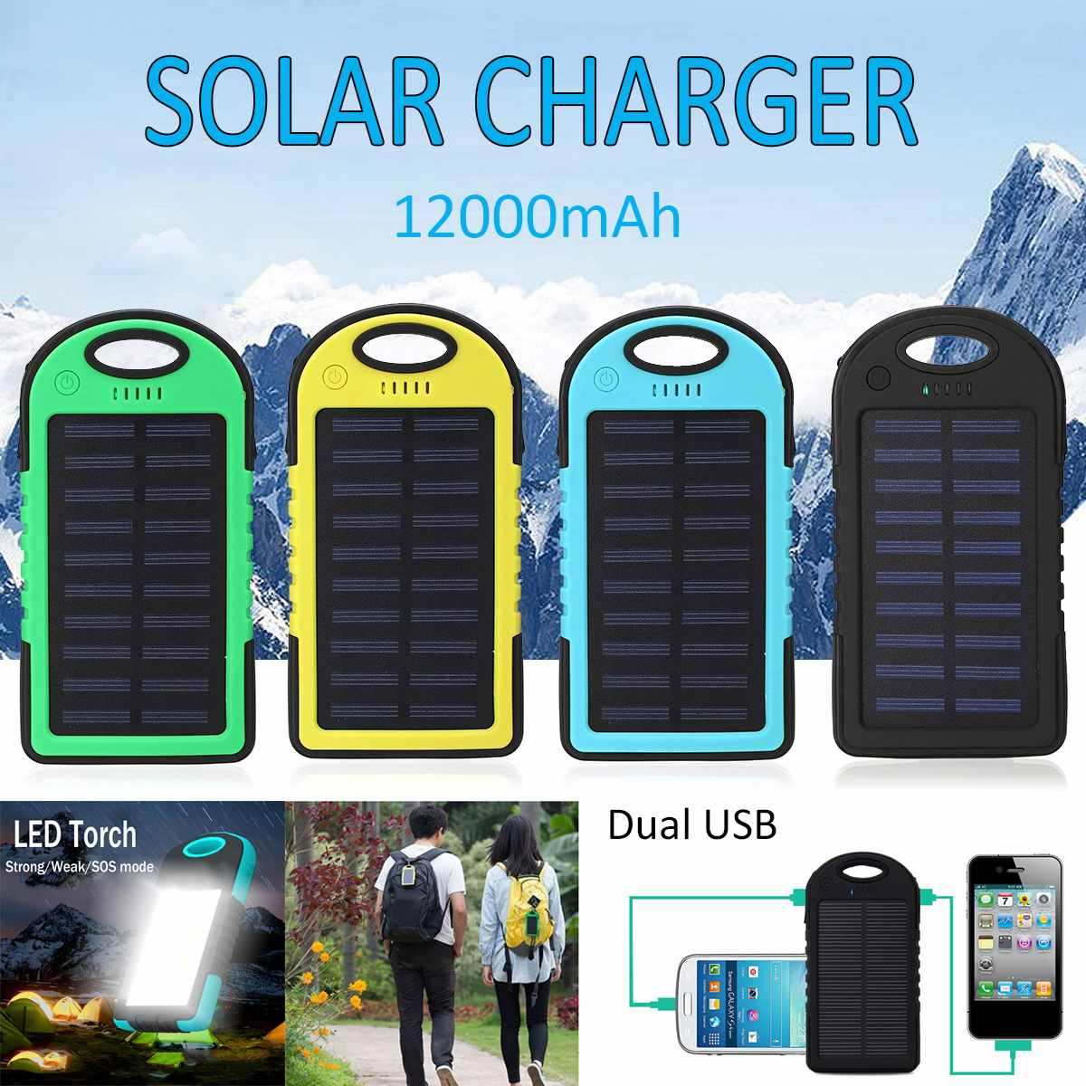 12000mAh Portable Solar Panel Dual USB Battery Power Bank Pack Charger Charging LED Solar Battery Cell Phone Charger