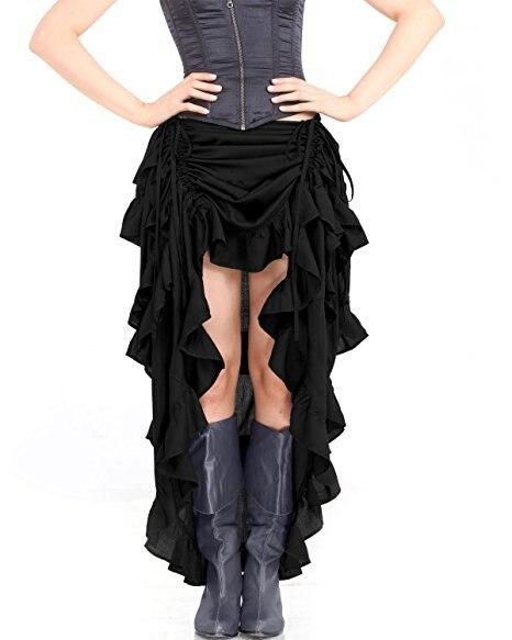 Women Sexy Gothic Steampunk Victorian Corset Skirt Ruffled Burlesque Asymmetrical Skirt