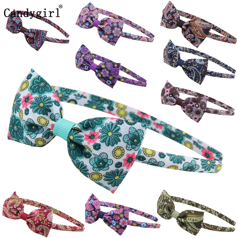 10pcs Flowers Print Floral Butterfly Bow Headband Extensions Holder Elastic Hair Band Headbands Women Girls Headwear Accessories