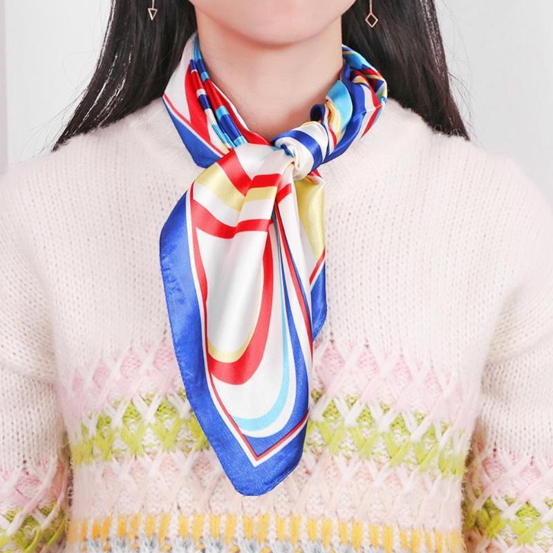Fashion Elegant Women Head Neck Square Scarf Floral Print Casual Satin Scarves Gift for Female Handbag Spring Neckerchief