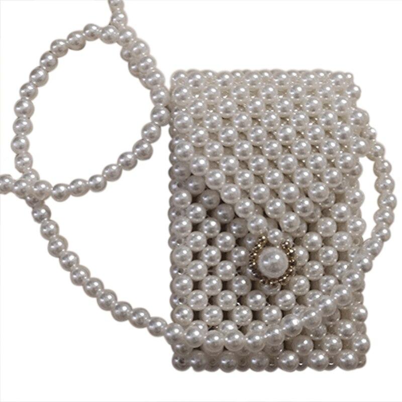 Super Mini Pearl Crossbody Cross Body Bag Fashion Cute Girls Purses Handbags Handmade Beaded Bag Waist Pack(White)