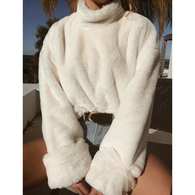 Women Warm Pull Shirt Female 2018 Autumn Winter Black White Long Sleeve Soft Plush Tops Ladies Turtleneck Pullover