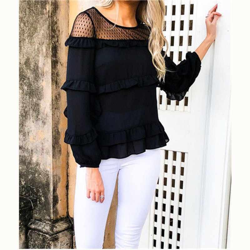 2019 новый стиль для женщин весна, лето, Осень Свободные шифон сетки цветок с длинным рукавом Повседневная футболка Топы корректирующие черны