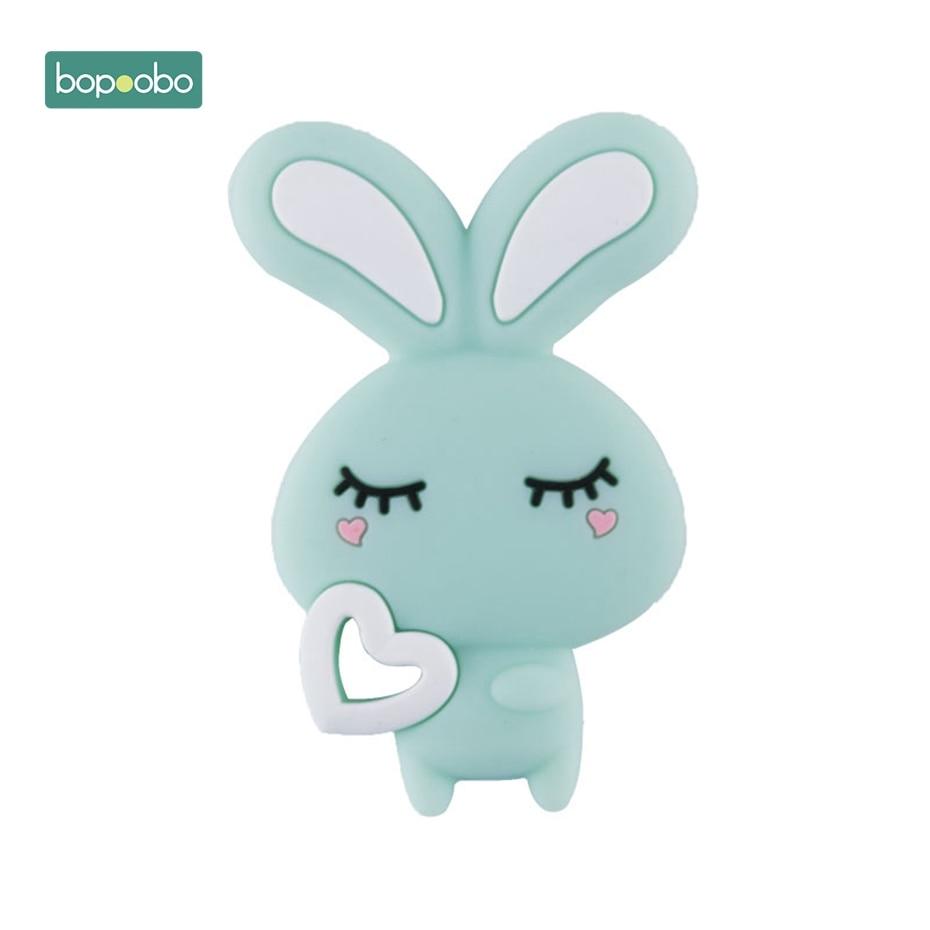 Bopoobo 1PC DIY Starter Kits Baby Bites Toys Cartoon Rogue Rabbit Strengthening Tooth Training Silicone Teethers Animal Pendant