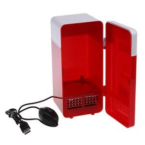 Image 3 - Mini USB lodówka czerwona mieści pojedynczą puszkę 12 uncji, która jest podświetlana z diody LED wewnątrz lodówki używanej w kabinie, w domu