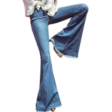 Women Fashion Wide Leg Flared Jeans Denim Comfortable Loose Zipper Pocket Trousers