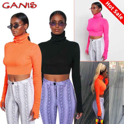 93f4df3c4 ... 2019 New High Neck T Shirt Women Slim Bardot Long Sleeve Jumper Shirt  Winter Autumn Ladies