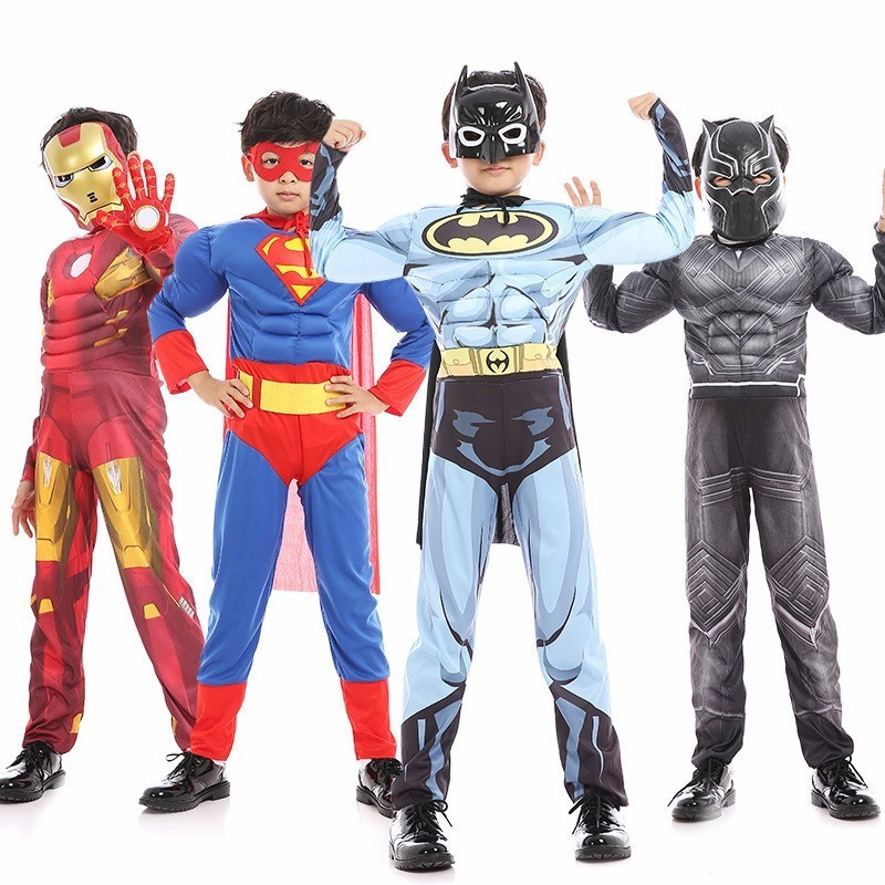 Kids Halloween Masquerade Party SuperMan Hero Muscle Batman SpiderMan Hulk Cosplay Costume Muscle Jumpsuit With Mask Cloak Suit