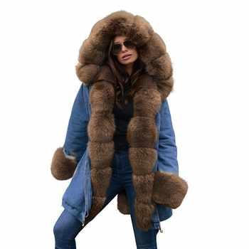 Ruiyige 2018 Parka Women Winter Coats Fur Hooded Jackets Women Long Cotton Casual Coat Ladies Warm Winter Parkas Female Overcoat