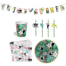 Summer Hawaiian Party Decorations Set Disposable Tableware Paper Plate Cups Drinking Straw Safari Birthday Supplies