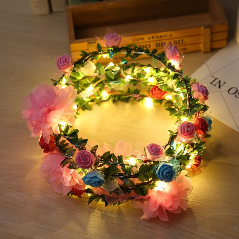 Handmade Floral Crown Led Flower Headband Hair Garland Wedding Headpiece 100% Guarantee