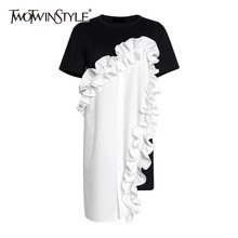 TWOTWINSTYLE весеннее популярное цветное женское платье с круглым вырезом и коротким рукавом, свободные оборки, Асимметричная футболка, платья, женская мода