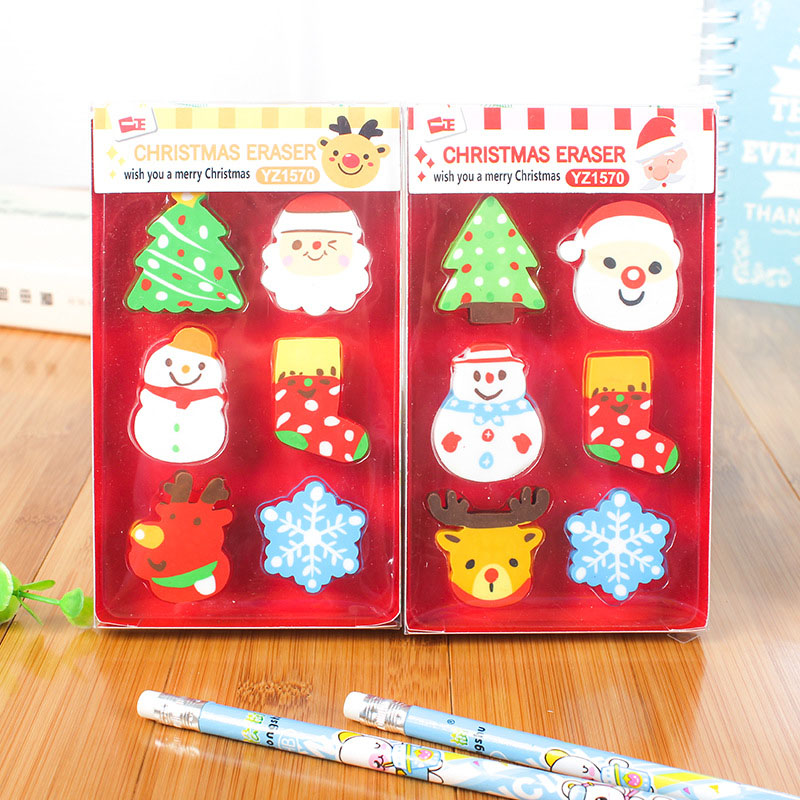 6pcs/box Christmas Erasers Kawaii Santa Claus Snowman Tree Rubber Erasers For Girls Gifts School Supplies Corrections Stationery