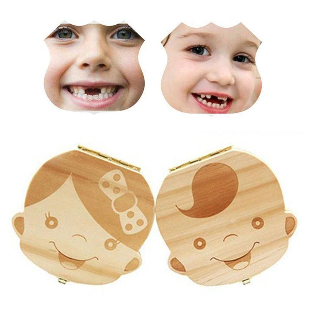 Baby Cute Wooden Tooth Collection Box Face Change 0.15kg Tooth Box For Girls, For Boys