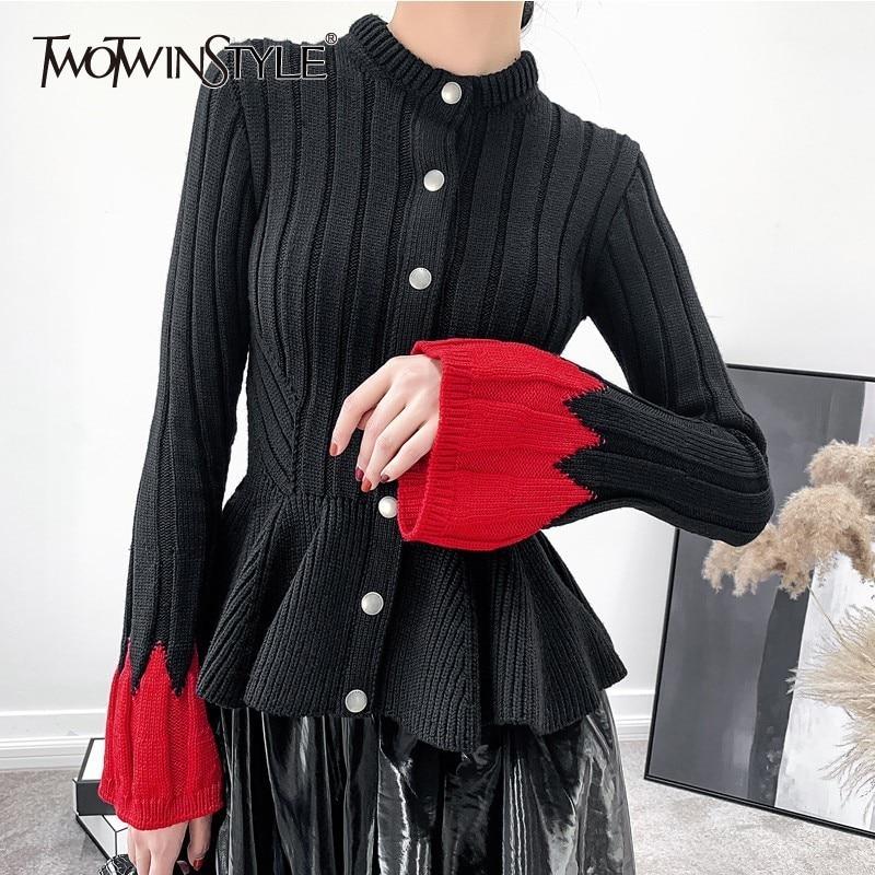TWOTWINSTYLE Patchwork Hit Colors Knitting Cardigan Female Flare Long Sleeve Ruffle Hem Sweater Women Fashion Jumper