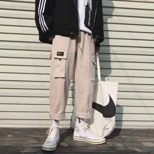 Image 3 - 2019 男性のファッション綿ゆるいカジュアルな貨物ポケットパンツストリート黒/カーキ色ズボンジョガースウェットパンツサイズ M 2XL