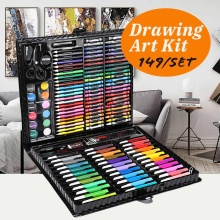 149pcs/set Complete Paint Drawing Art Kit Painting Supplies Wooden Box Set Storage Case 138 Piece Gift Pencil