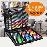 149pcs/set Complete Paint Drawing Art Kit Painting Supplies Wooden Box Set Storage Case 138 Piece Gift Pencil