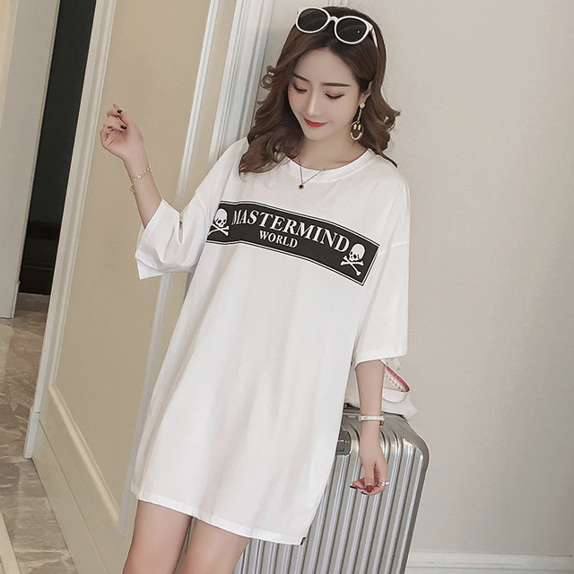 #4939 Summer White Loose Long T Shirt Dress Women Harajuku Skull Print Korean Fashion TShirts Dresses Cotton Plus Size Top Femme