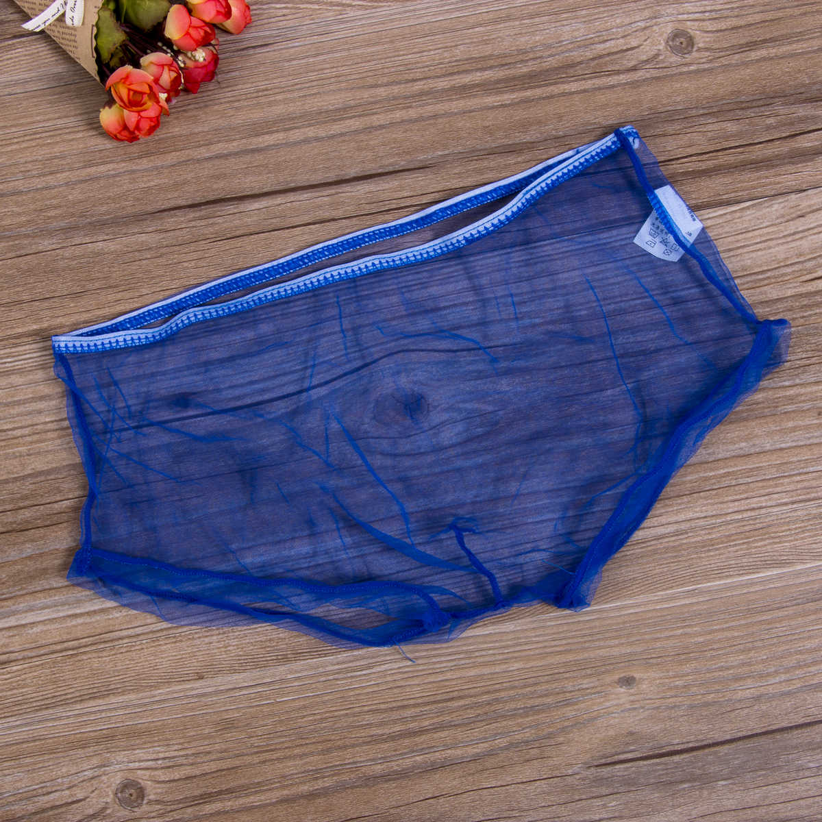 גברים של מכנסיים סקסי מתאגרפים תחתוני רשת ניילון שקוף משולש תחתוני לבן אדום שחור כחול