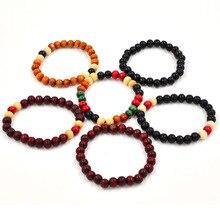 8 мм буддийские бусы из сандалового дерева будды для медитации и молитвы ручной работы из бисера женский мужской браслет Деревянные ювелирные изделия браслеты для йоги