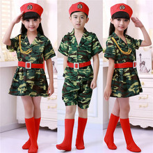 Boys Girls Camouflage Soldier Clothing Kids Army Military Uniform Party Kindergarten School Performance Dance Cosplay Costumes(China)