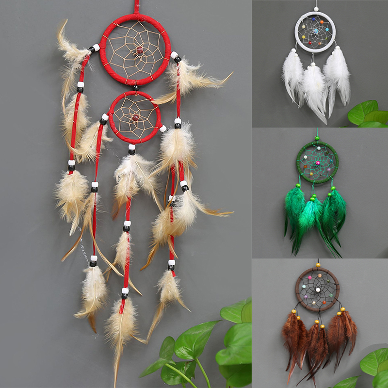 Vintage Circular Dreamcatchers Retro Feather Decoration For Car Wall Hanging Dream Catcher Popular 1PC Home Decoration Feathers